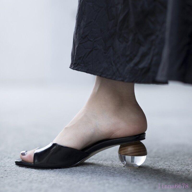 c6a4743c0ba5 Women s mid Kitten Crystal Ball Heels Slip Summer Sexy Mules Slippers Slide  on ovkjbe2028-Women s Slippers
