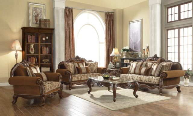 Traditional Brown Formal Living Room Furniture 3 pc Sofa Set Carved Wood  Frames
