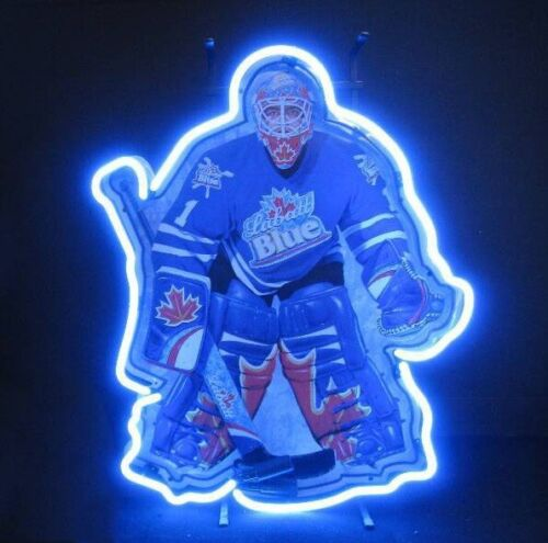 """Labatt Blue Hockey Goalie Tin Tacker Neon Light Sign 14/""""x10/"""" Beer Artwork Decor"""