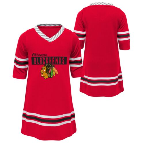 Chicago Blackhawks Baby Red Sassy Skater 1//2 Sleeve Tunic Dress Jersey Style