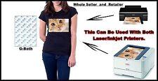 12 xA4 Inkjet/Laser1 Opaque Iron On Quality Heat Transfer Paperfor dark fabrics