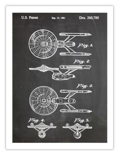 "STAR TREK POSTER 18x24/"" Starship Enterprise Blackboard patent art print"