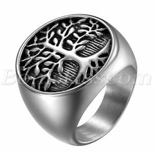 Mens-Vintage-Charm-Black-Silver-Stainless-Steel-Tree-of-Life-Band-Ring-Size-7-12