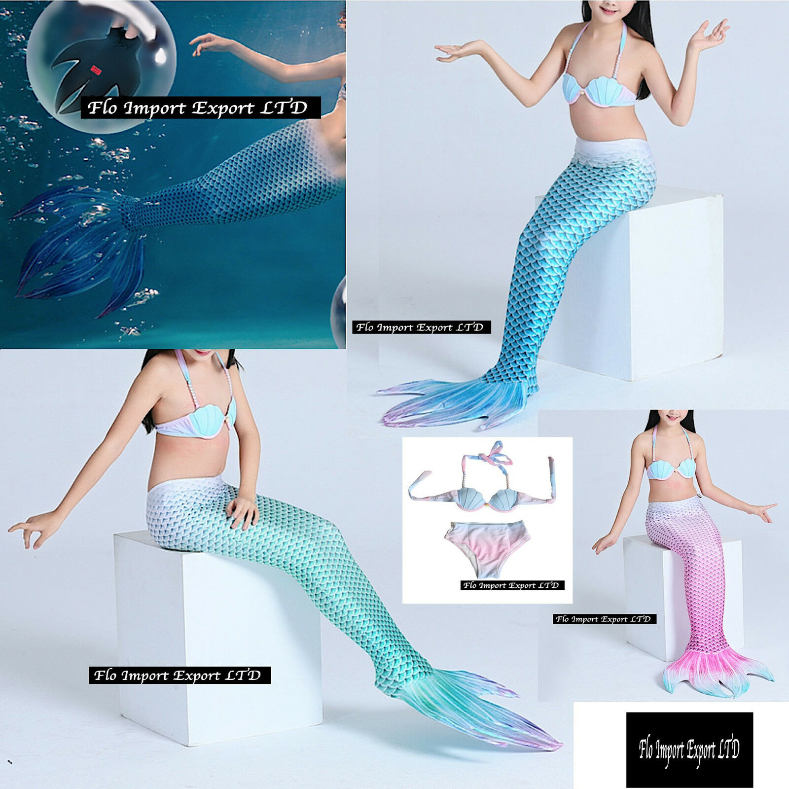 Costume Coda Sirena 4 Punte 6-12 Girl Swimsuit Mermaid Tail Mare Piscina SMZ013