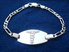 "925 STERLING SILVER MEN'S WOMEN'S MEDICAL ALERT ID BRACELET/ 7"" 8"" free engrave"