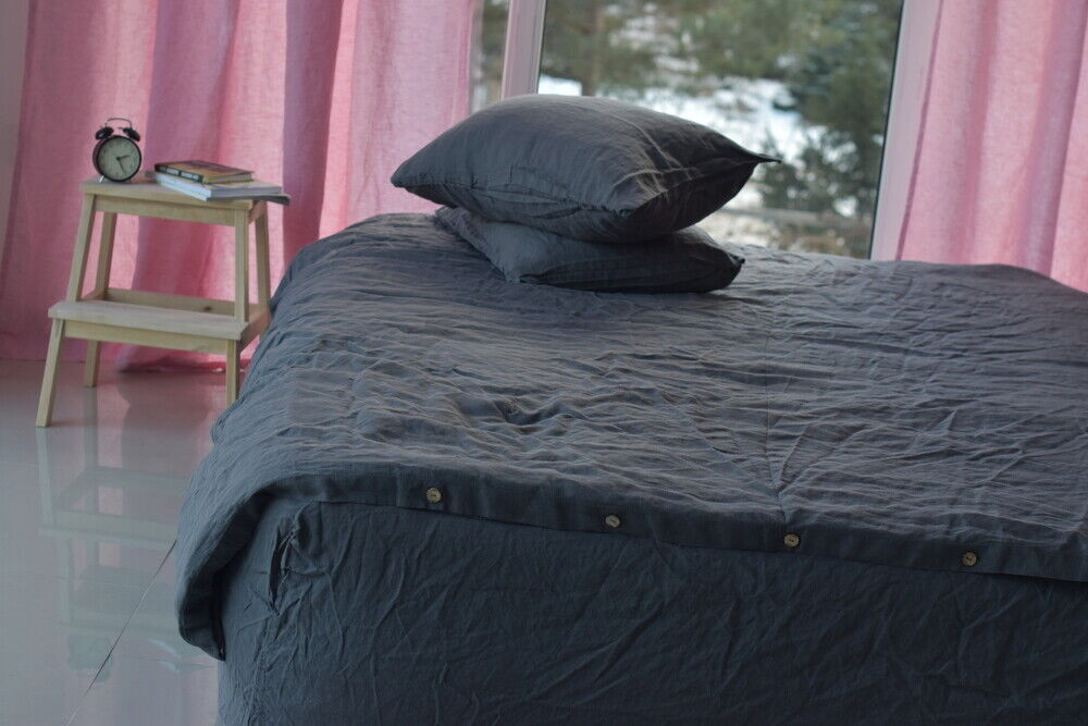DUVET StKunstseite set & pillow with envelope closures graphite Farbe Stone Washed