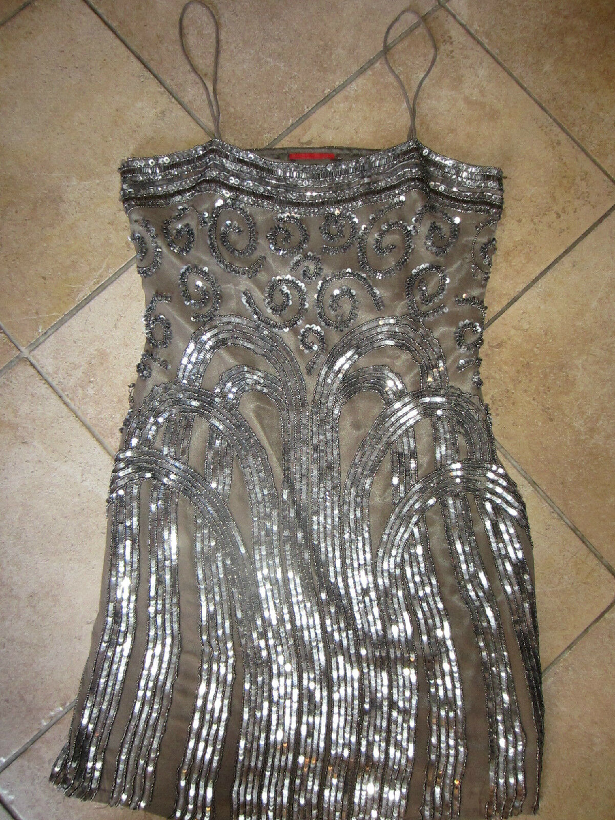 damen BEADED JEWELED EXQUISITE SEQUINED DERHY BRONZE SIDE ZIP DRESS SMALL