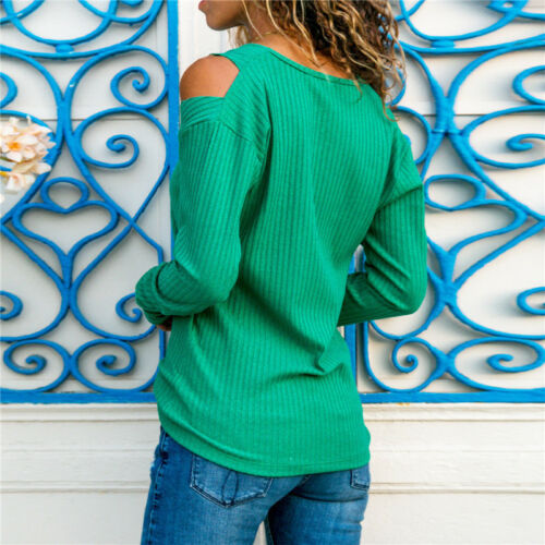 Damen Strickpullover Schulterfrei V-Ausschnitt Tunika Langarm Oberteile Sweater
