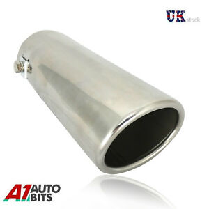 30-50mm-Sport-Chrome-Exhaust-Pipe-Tip-Trim-End-Stainles-Steel-Cover-Finisher-New