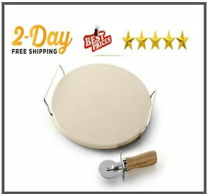 New Pampered Pizza Stone Round Baking Rack Chef Oven Natural Large