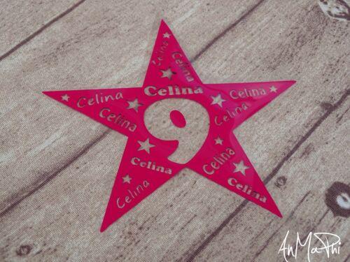 Basteln & Kreativität Bügelbild Geburtstag    Stern mit  Wunschname & Zahl *NEU*