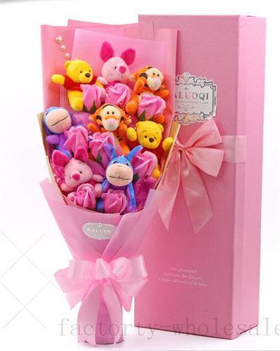 Bunch Winnie The Pooh Plush Dolls Toys Flowers Xmas Birthday Creative Gift Box