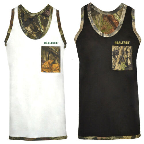 Men/'s Jungle Print Camouflage Muscle Vest Tank Top Realtree Hunting Fishing Top