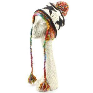 Wool Earflap Hat Knit LOUDelephant Fleece Lined Winter Bobble Beanie Ski STAR