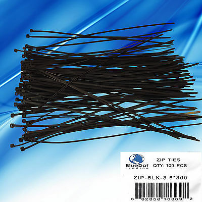 8 Inch Nylon UV Resistant Cable Wire Zip Tie 40 lbs Black 300 Pack Lot Pcs Qty
