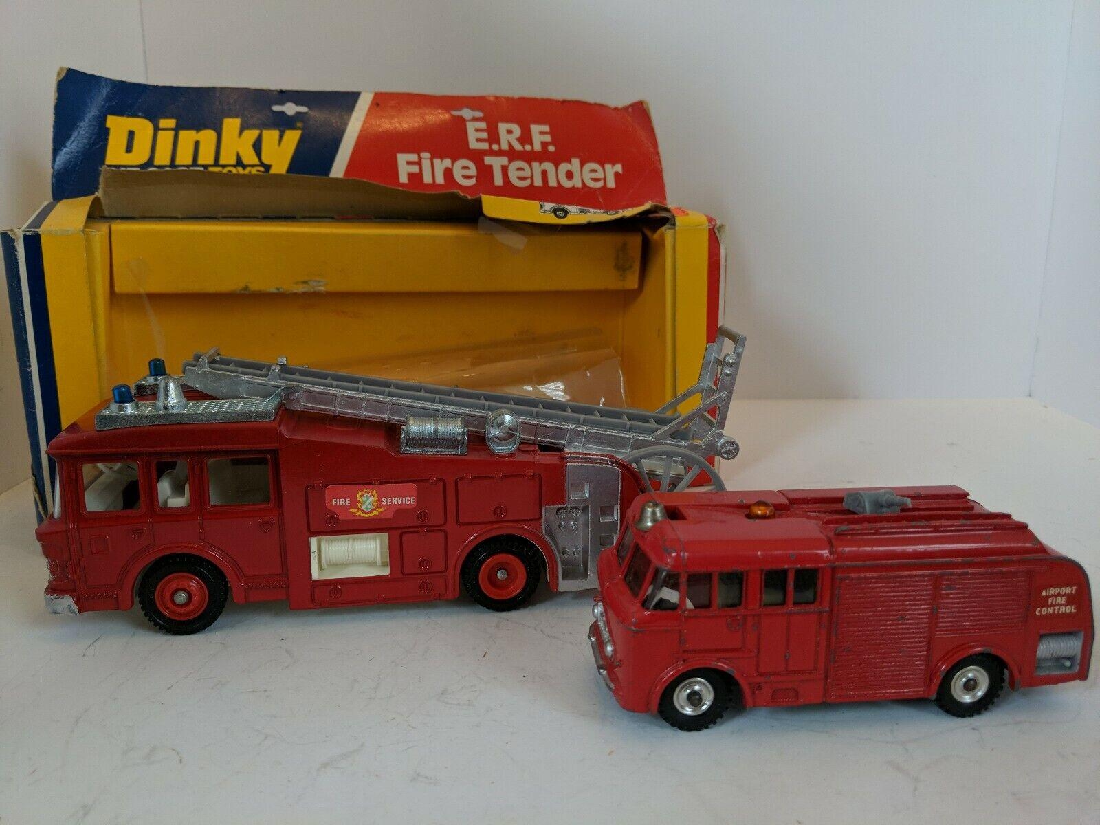 Dinky Lot of 2, Fire Trucks, 266 ERF Fire Tender, 276 Airport Fire Tender