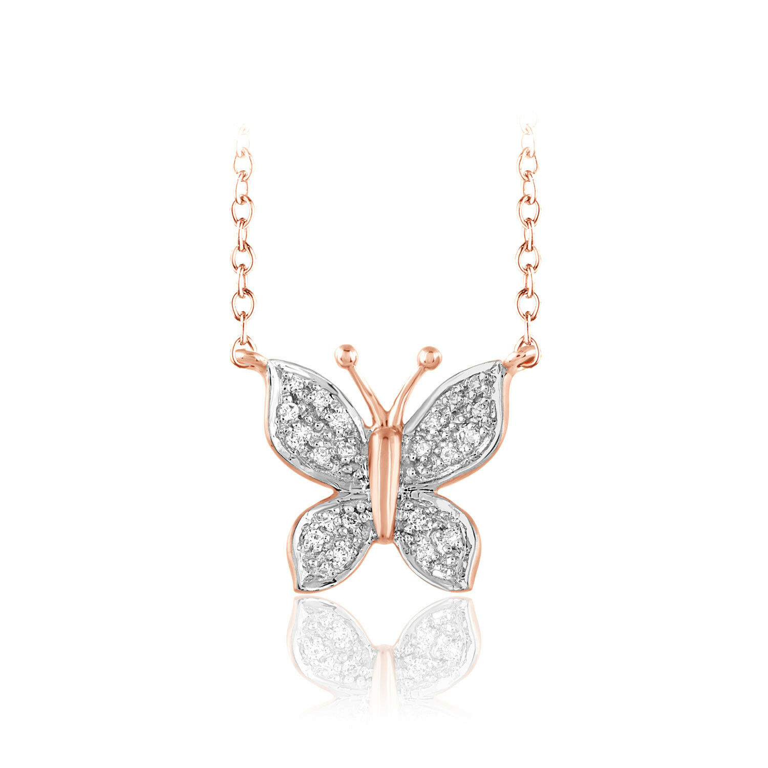 1 12 Ct. 14k Diamond Butterfly Pendant Solid pink gold Ladies