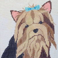 Yorkie Hand Painted Needlepoint Canvas