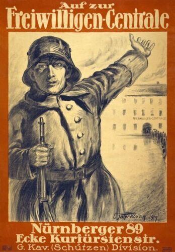 WA50 Vintage WWI German Military Recruitment War Poster Print WW1 A1//A2//A3//A4