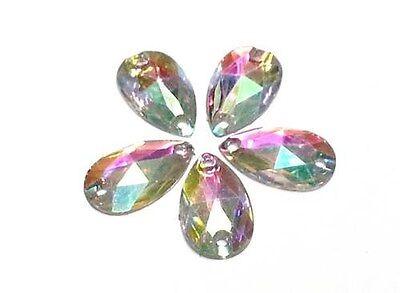CraftbuddyUS50pc AB Clear Pear 18X10mm Resin SewOn Diamnte Rhinestne Crystal Gem