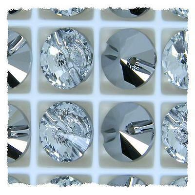 Genuine Swarovski Clear Crystal Round Button 3015