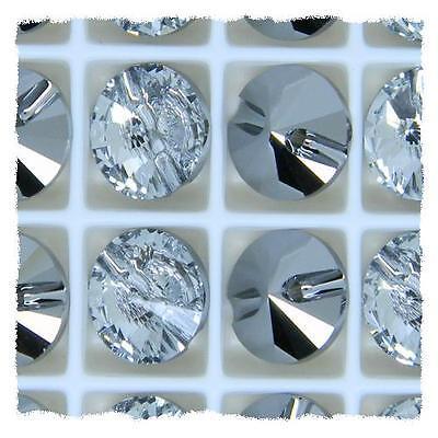 Genuine Swarovski Clear Crystal Round Button 3015