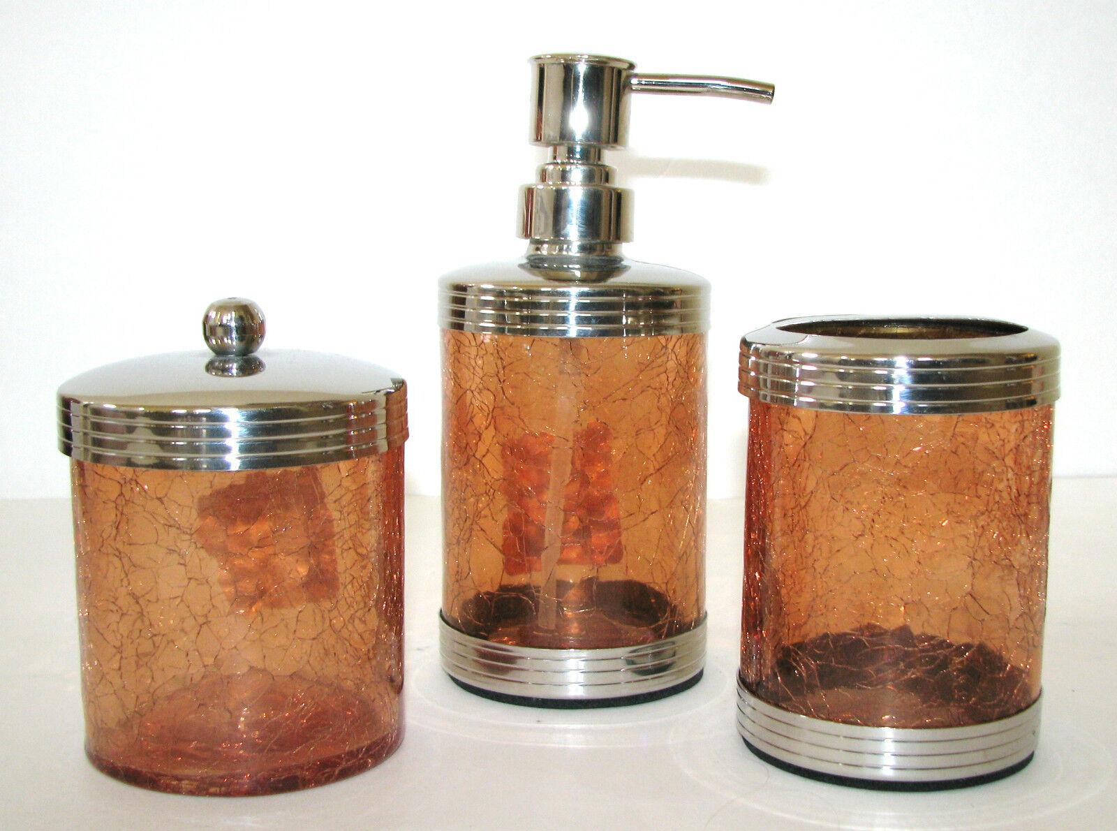 3pc Set Paradigm Orange Ausgebrochenes Glas Seife   Lotion