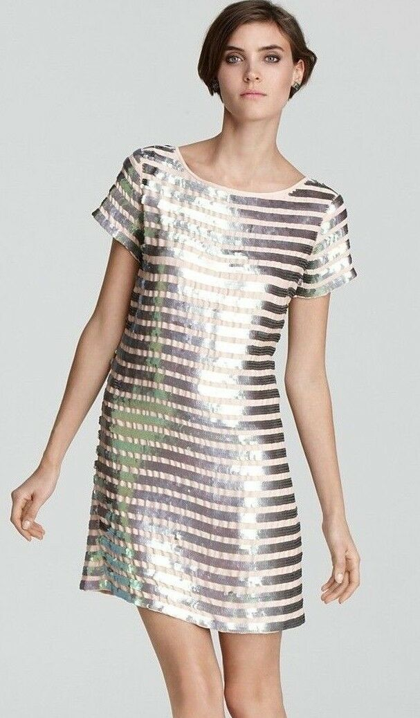348 French Connection Fast Eden Metallic Sequin Stripe 60 Cupid Dress