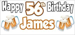 Beer 56th Birthday Banner x 2 Party Decorations Mens Husband Dad Grandad Son