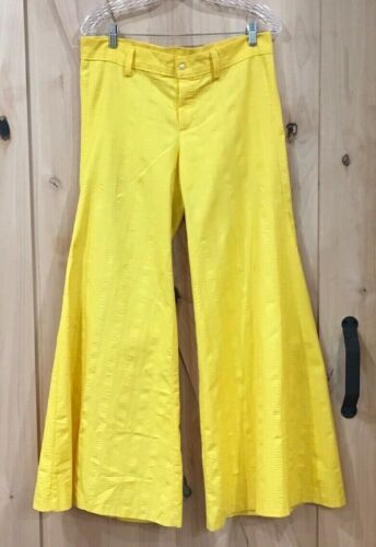Vintage 70s/ 80s Old Salem Yellow Flare Pants Wid… - image 1