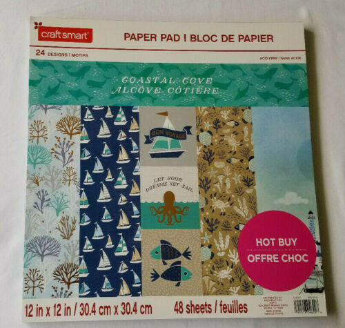 Cardstock Scrapbook Paper Pad COASTAL COVE 48 Sheets Nautical Beach 12x12 Foil