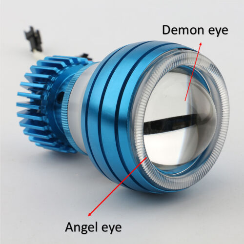 Motorcycle LED Projector Headlight Head Lamp Hi//Lo Beam Angel Demon Eye Light