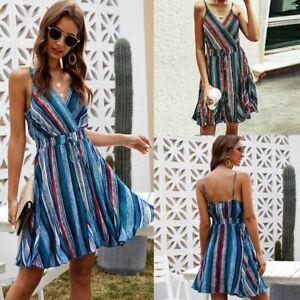 Summer-Womens-Dresses-Women-V-Neck-sundress-Cocktail-Floral-women-039-s-Maxi