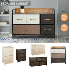 Chest of Fabric Drawers Dresser Furniture 3/4/5 Bins Bedroom Storage Organizer