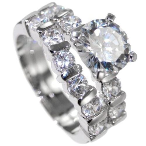WEDDING RING ENAGAGMENT 4.45CTW BRILLIANT STONE 2 RINGS w// BOX  5,6,7,8,9