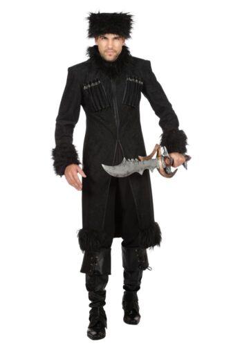 Herren Mantel und Mütze Dark Lord Zar Kosaken Kostüm Kubanka Militär Russland