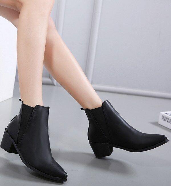 botas bajo Zapatos bajo 5.5cm Negro Elegantes Piel Sintético 9079