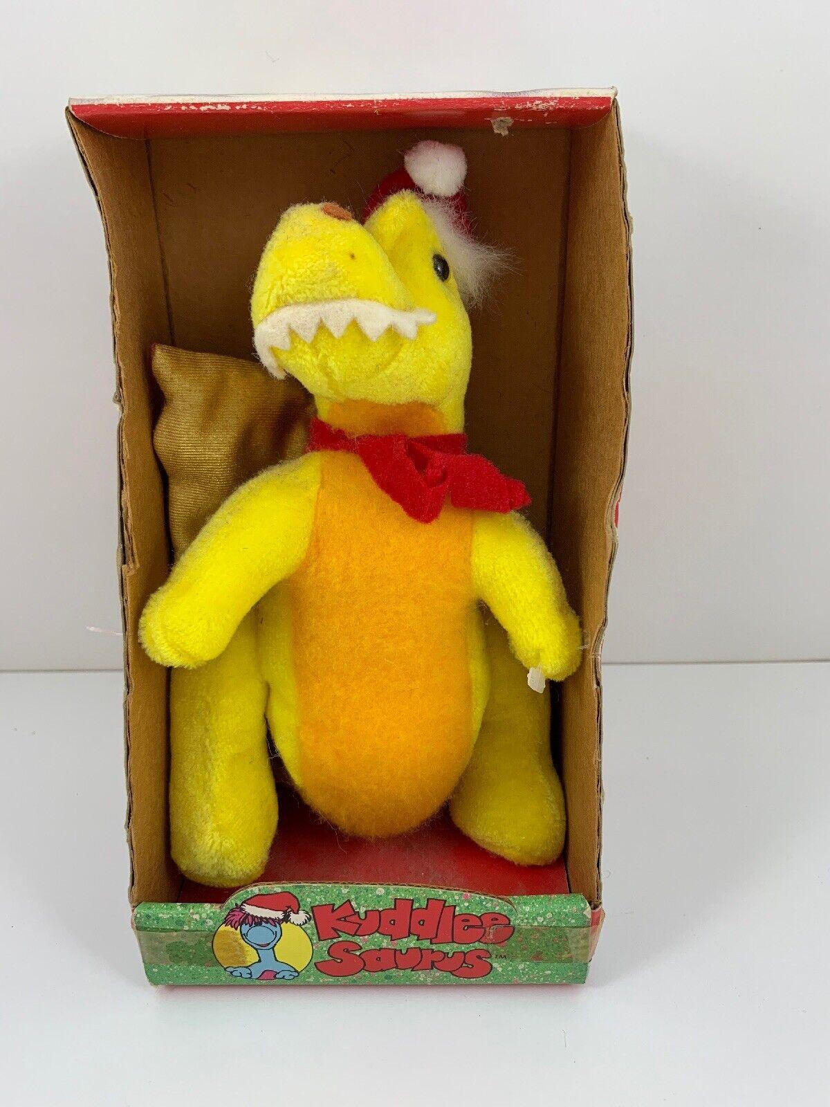 New In Box HTF Kuddlee Saurus 1987 Tara Toy Corp Yellow Dinosaur 18300 Christmas