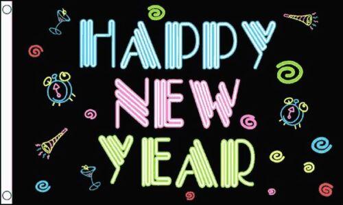 Happy New Year Celebration 5ft x 3ft 150cm x 90cm Flag Neon