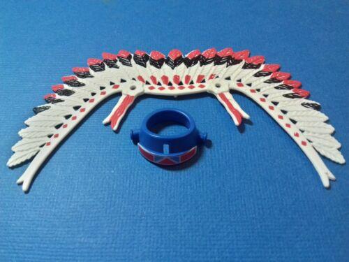 La coiffe du grand chef indien plumes rouges serre-tête bleu PLAYMOBIL Western