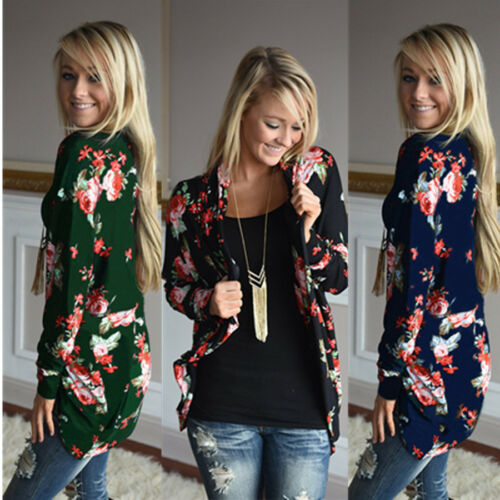 Women Casual Floral Printed Ladies Jacket Cardigan Long Sleeve Outwear Tops