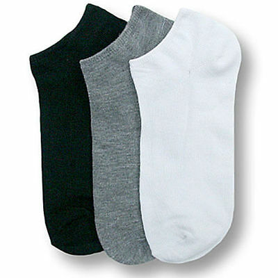 Men Women 9-11 10-13 Casual Ankle Socks Low Cut No Show White Black Gray 3-6-12