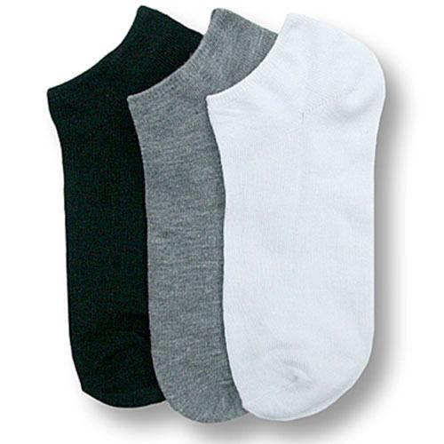 Men Women 9-11 10-13 Casual Ankle Socks Low Cut No Show White Black Gray 3-6-12