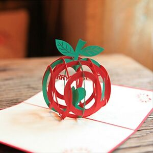Christmas Apple Shape 3D Pop Up Greeting Christmas Gifts Party Greeting Card