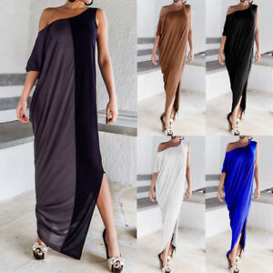 598d4058a49d Image is loading Women-One-Shoulder-Asymmetrical-Cocktail-Long-Maxi-Dress-