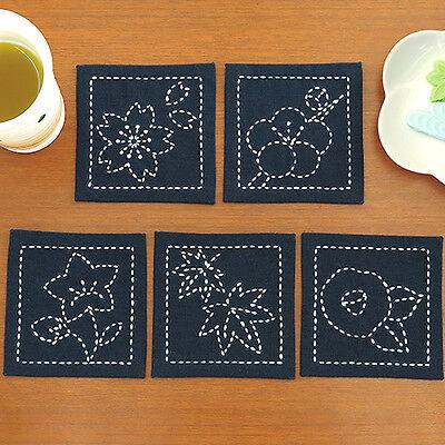 Japanese Embroidery  SASHIKO KIT COASTER B pcs FUJIHISA with tread From JAPAN