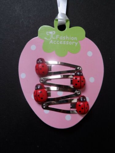 girls//baby mini//small hair clips snap clips bendies hair slides red ladybird set