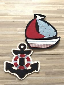 Details About Nautica Nautical Nursery Decor Wall Hanging Anchor Sailboat