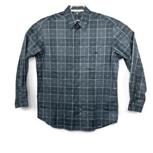 Zanella-Mens-Gray-Geometric-Design-Long-Sleeve-Shirt-Size-Large-Made-In-Italy