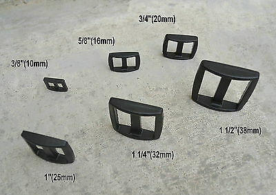 Black Curved Plastic Slider Tri Glide Adjustable Buckles for Backpack Straps